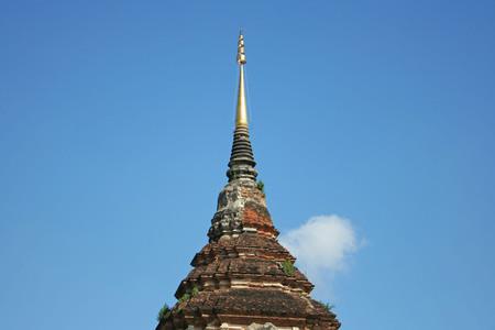 Pagoda at  Lok Molee temple on beautiful  blue sky in Chiang Mai, Thailand. Stock Photo