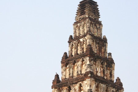Pagoda at Chamadevi temple or Gu Gud wat in Lamphun, Thailand. 스톡 콘텐츠