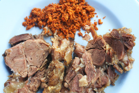Top view steamed beef with galangal chili paste Stock Photo