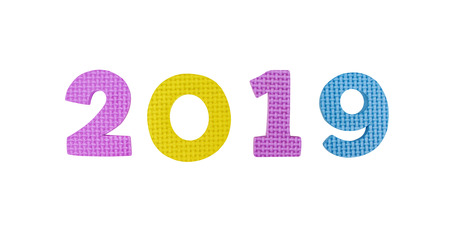 Purple ,yellow and blue numbers 2019 in horizontal isolated on white background. for Christmas and New year