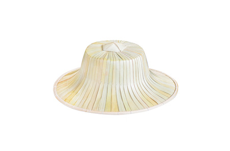 Palm leaf hats isolated on white background,traditional thai handcraft  nature patterns made from dried plants 版權商用圖片