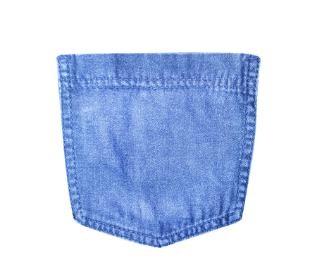 Back stretch blue jeans pocket texture isolated on white background with clipping path