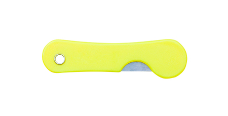 Yellow folding knife isolated on  background with  ,off