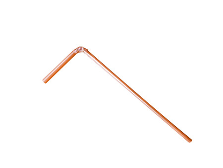 Brown drinking straw isolated on  background with