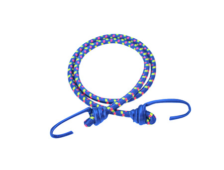 Close up hooks and blue elastic straps ropes with green and red striped patterns isolated on  background with