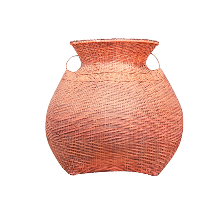 Giant brown bamboo woven fish basket isolated on white background with clipping path, fishing too handmade