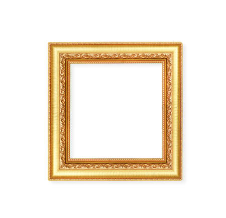 Decoration gorgeous metal gold picture frame with carving flower patterns  isolated on white background with clipping path 免版税图像