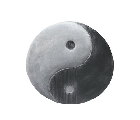 Modèles de texture en acier Yin Yang isolés sur fond blanc
