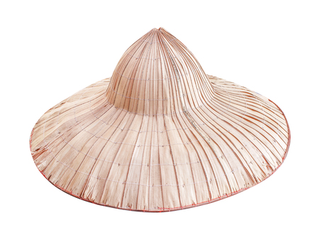 Palm peasant hats isolated on white background  ,traditional thai handcraft  natural patterns made from dried leaf plants