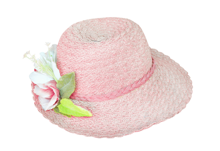 Woman hat with inflorescence of fabric flower patterns isolated on white background