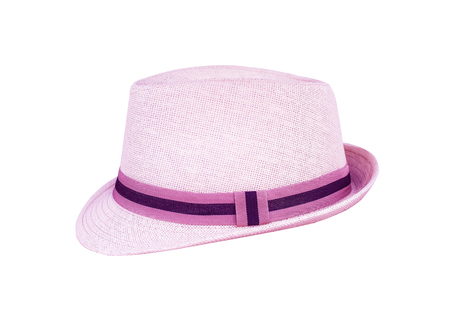 Pink hats with fabric edge  isolated on white background  , clipping path Reklamní fotografie