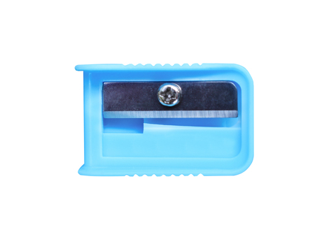 Top view colorful blue pencil sharpener isolated on white background with clipping path