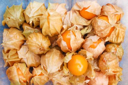 Top view tasty cape gooseberries group