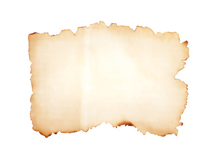 Old blank brown grunge paper texture with burned edges patterns isolated on white background with clipping path