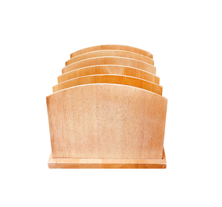 Old wood bookend many layer patterns in vertical shaped isolated on white background with clipping path Imagens