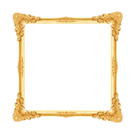 Antique gold picture frame with flower and leave shape patterns isolated on white background with clipping path