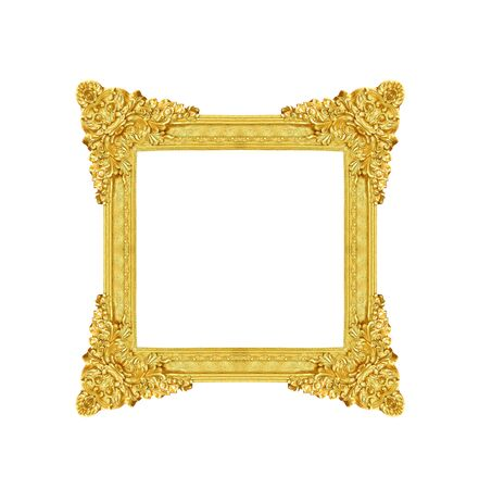 Antique gold picture frame with flower and leave shape patterns in corner isolated on white background