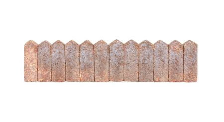 Vintage stone fence isolated on white background