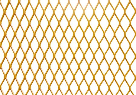 Gold mesh steel fence patterns isolated on white background