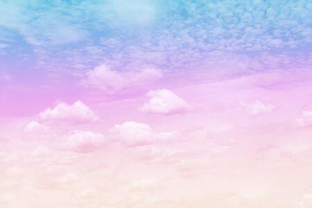 White clouds pattern group on sky pastel color background Foto de archivo