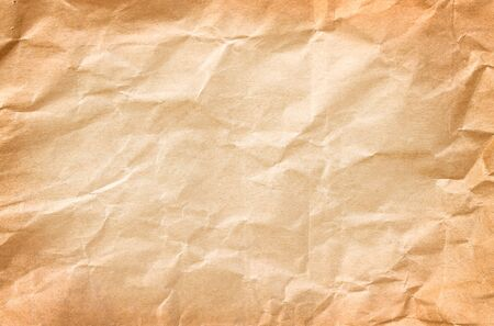 Old blank wrinkle light brown paper texture abstract top view for background copy space Banco de Imagens