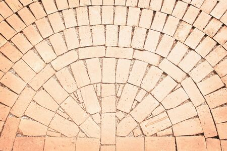 Brick pavement  background in semicircle patterns texture top view Banque d'images
