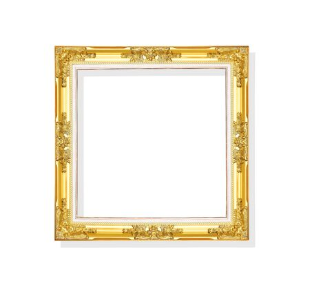 Gold paint picture frame  decorative  with flower and leave patterns isolated on white background