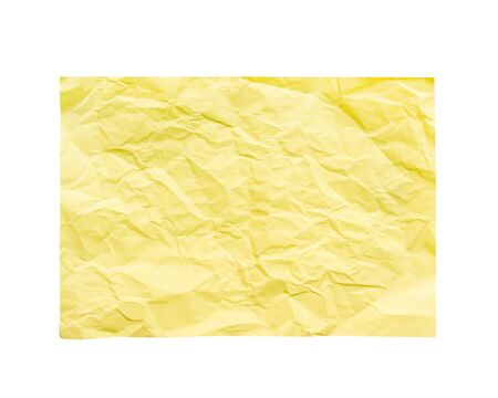 Paper yellow wrinkle patterns blank texture  top view isolated on white background with clipping path