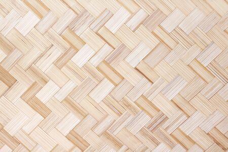 Bambusowy splot tekstura wzór, drewniane rzemiosło jasnobrązowe tło Zdjęcie Seryjne