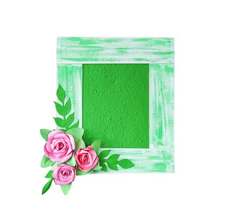 Green sa paper or mulberry paper picture frame with decorative pink flowers and leaves patterns isolated on white background