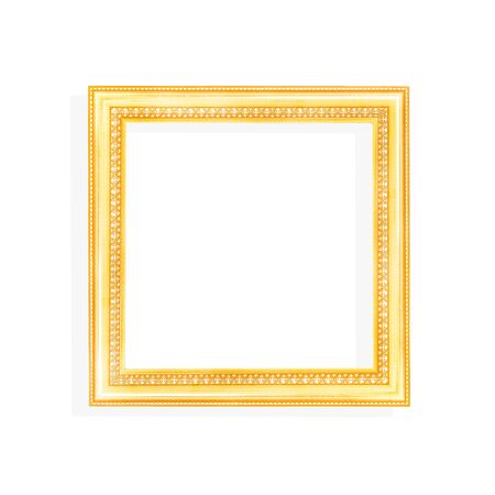 Gold picture frame in square shaped patterns isolated on white background
