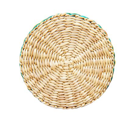 Weaving texture in round shape patterns handmade from trunk of dried water hyacinths or eichhornia crassipes isolated on white background