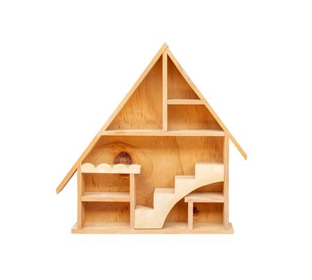 Wood house shaped shelving with room , ladder and steel for hanging on wall  isolated on white background , clipping path
