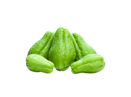 Green chayote or Sechium edule pile isolated on white background