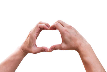Asian man hands making heart shape  isolated on white background clipping path , Father's Day or Valentine day concept