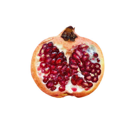 Half of red pomegranate or Punica granatum  isolated on white background