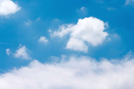 Clouds on bright blue sky and space background Stock Photo