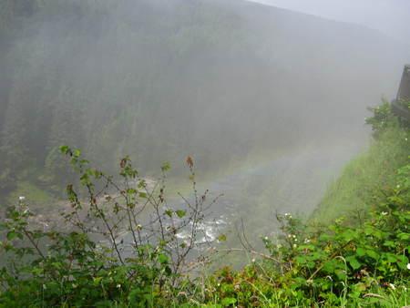 waterfall spray with misty rainbow