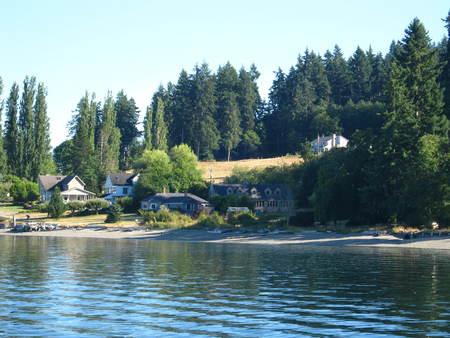 island village with shore