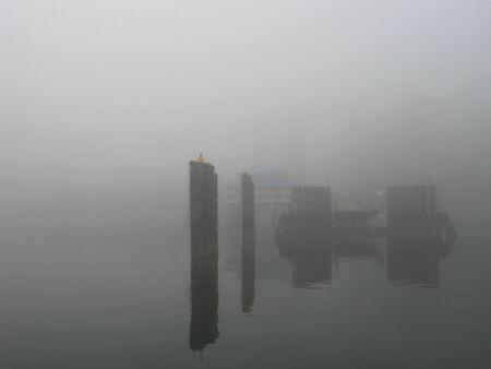 Foggy ferry dock Фото со стока