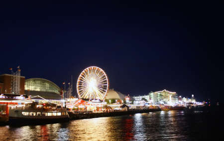a night shjot of navy pier in chicago, illinois Stock Photo
