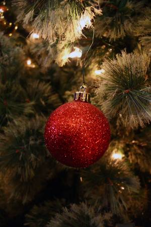 a close up shot of part of a christmas tree with thite lights and a red, sparkly ornament Stock Photo
