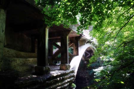 un vecchio ponte di cemento in un grazioso parco di stato  Archivio Fotografico