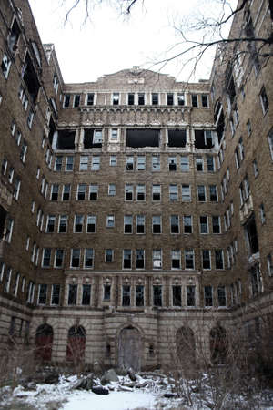 dirty room: an old abandoned apartment building exterior