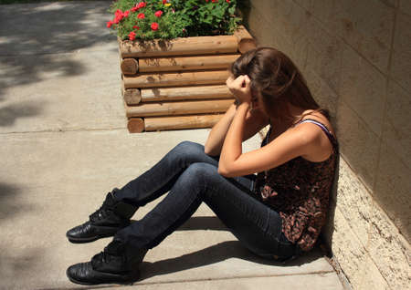 lonely woman: Teenager upset  Stock Photo