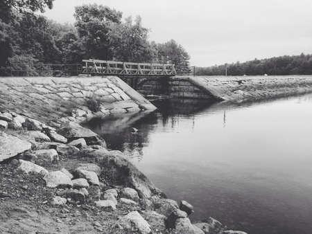 white: Bridge over water. Stock Photo