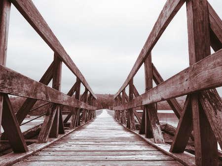white: Wooden bridge. Stock Photo