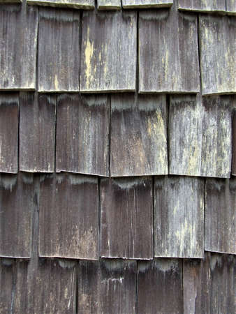 Weathered cedar shakes on the side of an outbuilding at Log Cabin Resort on Lake Crescent Standard-Bild