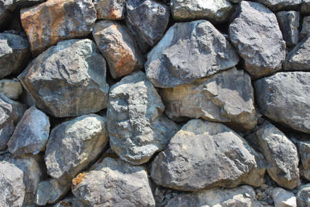 dry stone boulder retaining wall (horizontal) Stock Photo