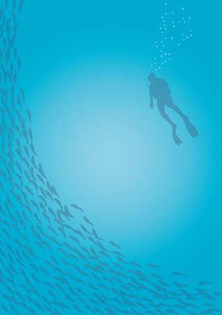Diver and fish Vettoriali